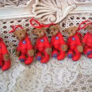 HOLLY BEARIES 6 RETIRED CHRISTMAS BEARS IN PAJAMAS CHRISTMAS ORNAMENTS ***NEW***