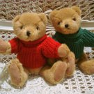 TWO SMALL CHRISTMAS TEDDY BEARS IN RED & GREEN SWEATERS *NEW* *SO CUTE**