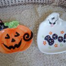 GHOST & BLACK CAT WITH PUMPKIN CERAMIC HALLOWEEN SMALL PLATTERS ***SO CUTE***