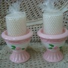 FABULOUS SET OF 2 PINK ROSES HANDPAINTED PILLAR CANDLEHOLDERS *GREAT FOR SPRING*