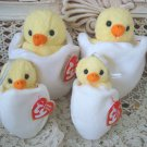 SET OF 2 EASTER CHICK TY BEANIE BABIES & 2 MINI TY BASKET BEANIE ORNAMENTS
