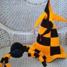 VINTAGE INSPIRED HALLOWEEN BLACK & ORANGE JESTER HAT WITH BELLS & SPIDER