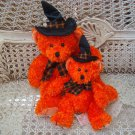 RUSS BERRIE SET OF 2 HOCUS HALLOWEEN WITCH BEARS WITH SPARKLING PLUSH *SO CUTE*