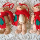 HOLLY BEARIES 3 RETIRED CHRISTMAS BEARS WITH SCARF CHRISTMAS ORNAMENTS ***NEW***