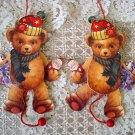 2 WHIMSICAL VINTAGE STYLE TEDDY BEAR WOODEN PULL TOY CHRISTMAS ORNAMENTS **NEW**