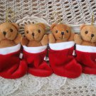 4 PLUSH BEARS IN RED CHRISTMAS STOCKINGS CHRISTMAS ORNAMENTS **NEW** SO CUTE