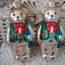 2 BLOWN GLASS CHARMING TEDDY BEARS IN VESTS CHRISTMAS ORNAMENTS  **NEW** CUTE
