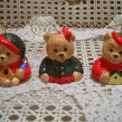 3 ADORABLE CHRISTMAS TEDDY BEAR CERAMIC ORNAMENTS WITH BELLS **SO CUTE** NEW