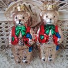 2 BLOWN GLASS CUTE TEDDY BEARS IN VESTS CHRISTMAS ORNAMENTS  **NEW**