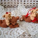 HOLLY BEARIES 2 RETIRED CHRISTMAS BEARS WITH SMALL BEAR CHRISTMAS ORNAMENTS NEW
