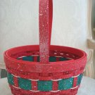 BEAUTIFUL LARGE ROUND CHRISTMAS BASKET RED & GREEN *GREAT FOR DISPLAY*