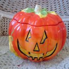 SUSAN WINGET AWESOME LARGE HALLOWEEN CERAMIC PUMPKIN JACK O'LANTERN COOKIE JAR