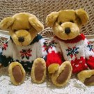 TWO CHRISTMAS TEDDY BEARS IN RED & GREEN SWEATERS *NEW* *SO CUTE**
