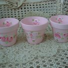 SET OF 3 SHABBY HANDPAINTED ROSES SMALL FLOWERPOTS **SO CUTE***