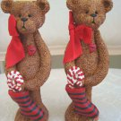 HOLLY BEARIES 2 CHRISTMAS BEAR CANDLEHOLDERS WITH STOCKINGS & CANDY CANES *NEW*