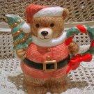 CHRISTMAS SANTA BEAR CERAMIC CHRISTMAS PITCHER WITH WREATH **SO CUTE**
