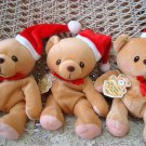 CHERISHED TEDDIES 3 CHRISTMAS SANTA BEAR BEANIE **NEW*** SO CUTE