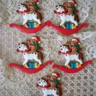 5 AWESOME TEDDY BEAR ON ROCKING HORSE CHRISTMAS ORNAMENTS SO CUTE *NEW*