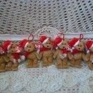 7 RETIRED TY JINGLE BEANIES SANTA BEAR CHRISTMAS ORNAMENTS **ADORABLE**