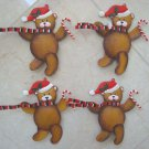 SET OF 4 DEPT 56 RETIRED METAL CHRISTMAS SANTA BEAR ORNAMENTS ***CUTE***