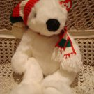 TY WHITE BEAR WITH CHRISTMAS HAT & SCARF ***SO CUTE*** NEW