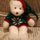 """ADORABLE 15"""" TALL WHITE BEAR IN CHRISTMAS SWEATER ***SO CUTE*** NEW"""