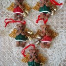 5 ADORABLE ANGEL BEAR ORNAMENTS WITH BELLS CHRISTMAS ORNAMENTS ***NEW***