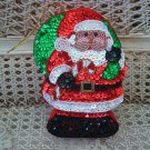 LARGE SANTA WITH CANDY CANE CHRISTMAS SEQUIN TRINKET BOX ORNAMENT ***SO CUTE***