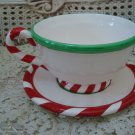 DEPARTMENT 56 HUGE CHRISTMAS CUP & SAUCER **GREAT FOR SANTA'S COOKIES & MILK**