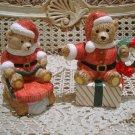 CHRISTMAS SANTA BEAR CERAMIC CHRISTMAS SUGAR & CREAMER SET  **SO CUTE**
