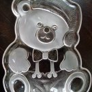 ADORABLE CHRISTMAS TEDDY BEAR GLASS COOKIE SERVING PLATE ***NEW*** SO CUTE