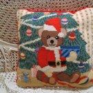 CHRISTMAS TEDDY BEAR SANTA CHRISTMAS PILLOW **NEW*** *SO CUTE**