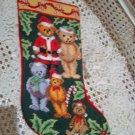 CHRISTMAS TEDDY BEAR NEEDLEPOINT STOCKING WITH SANTA BEARS **NEW*** *SO CUTE**