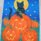 WHIMSICAL TOLAND BLACK CAT WITH PUMPKINS HALLOWEEN FLAG ****SO CUTE****