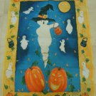 WHIMSICAL GHOST TRICK OR TREAT LARGE HALLOWEEN FLAG ****SO CUTE****