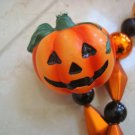 GORGEOUS HALLOWEEN GARLAND PUMPKINS ORANGE & BLACK SHINY BEADS ***SO PRETTY***