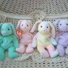 SET OF 4 ADORABLE TY EASTER BUNNIES BEANIE BABIES ***RETIRED***