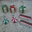 7 HALLMARK CHRISTMAS ORNAMENTS PEPPERMINT CANDY, PRESENTS & RIBBON CANDY *CUTE*