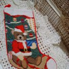 ADORABLE CHRISTMAS SANTA TEDDY BEAR CHRISTMAS NEEDLEPOINT STOCKING *NEW *SO CUTE