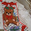 CHRISTMAS TEDDY BEAR WITH BOW CHRISTMAS NEEDLEPOINT STOCKING **NEW** *SO CUTE**