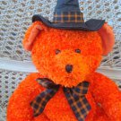 RUSS BERRIE HOCUS LARGE ORANGE HALLOWEEN WITCH BEAR WITH SPARKLING PLUSH