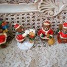 4 ADORABLE CHRISTMAS TEDDY BEAR ORNAMENTS SANTA PRESENTS  **SO CUTE** *NEW*