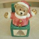 SANTA BEAR CHRISTMAS CERAMIC VOTIVE CANDLE HOLDER ***CUTE***