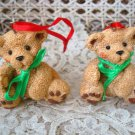 HOLLY BEARIES 2 RETIRED CHRISTMAS BEARS SITTING CHRISTMAS ORNAMENTS **SO CUTE**