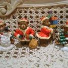 4 CHRISTMAS TEDDY BEAR ORNAMENTS SNOWMAN SANTA PRESENTS PRESENTS  **SO CUTE* NEW
