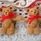 HOLLY BEARIES 2 RETIRED CHRISTMAS BEARS ARMS OUT CHRISTMAS ORNAMENTS **SO CUTE**