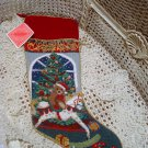 BEAUTIFUL BEAR ON ROCKING HORSE CHRISTMAS NEEDLEPOINT STOCKING **NEW**