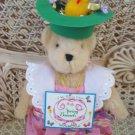 ADORABLE 1995 EASTER BEAR DRESSED IN EASTER DRESS & EASTER BONNET **SO CUTE**