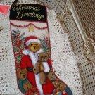 GORGEOUS CHRISTMAS GREETINGS TEDDY BEAR CHRISTMAS NEEDLEPOINT STOCKING *NEW*