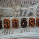 COLONIAL CANDLE SET OF 6 HALLOWEEN VOTIVE CANDLE HOLDERS SPIDER CATS SKULL